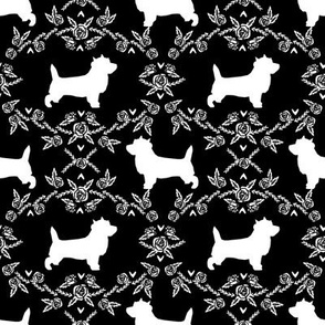 Cairn Terrier florals dog breed silhouette fabric black
