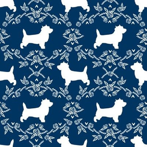 Cairn Terrier florals dog breed silhouette fabric navy