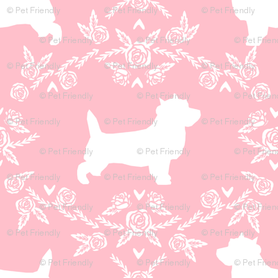 Cairn Terrier florals dog breed silhouette fabric pink