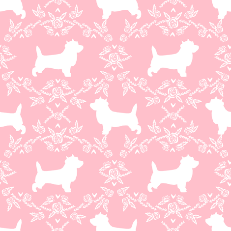 Cairn Terrier florals dog breed silhouette fabric pink fabric by petfriendly on Spoonflower - custom fabric