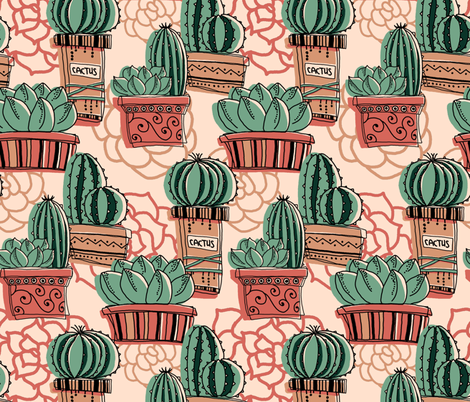 So many cactuses! fabric by almerk_design on Spoonflower - custom fabric