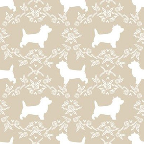 Cairn Terrier florals dog breed silhouette fabric sand