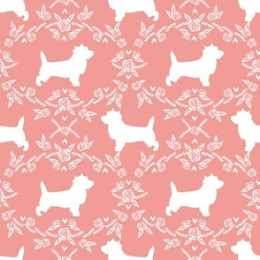 Cairn Terrier florals dog breed silhouette fabric sweet pink