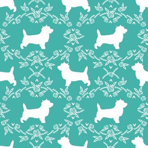 Cairn Terrier florals dog breed silhouette fabric turquoise