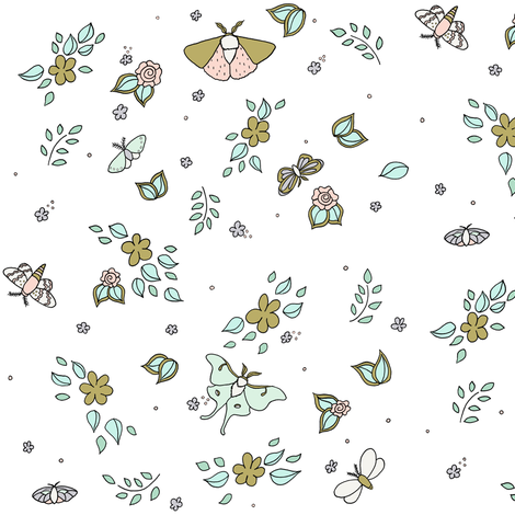 Flora And Flutter // by Sweet Melody Designs fabric by sweetmelodydesigns on Spoonflower - custom fabric