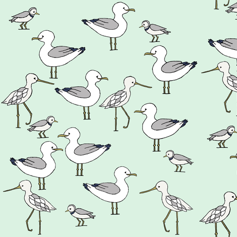 Beach Birds // by Sweet Melody Designs fabric by sweetmelodydesigns on Spoonflower - custom fabric