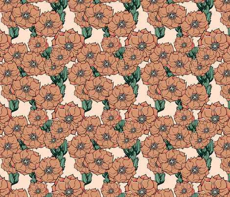 Adobe colored cactus flowers fabric by hannafate on Spoonflower - custom fabric