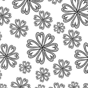 Black and White Floral 05