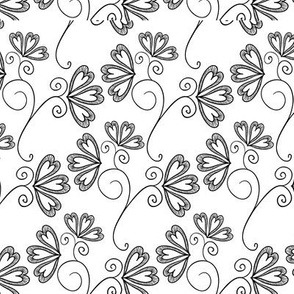 Black and White Floral 07
