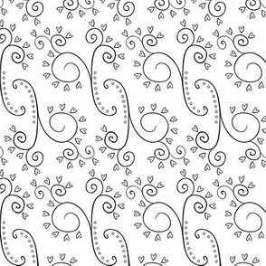 Black and White Floral 09