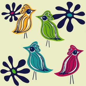 Mod Birds gold red green teal cream sewindigo