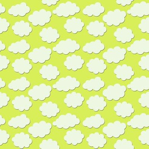 Paper-Cut Clouds - Ladybird Yellow-Green - Small