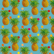 Pineapples and polka dots in blue