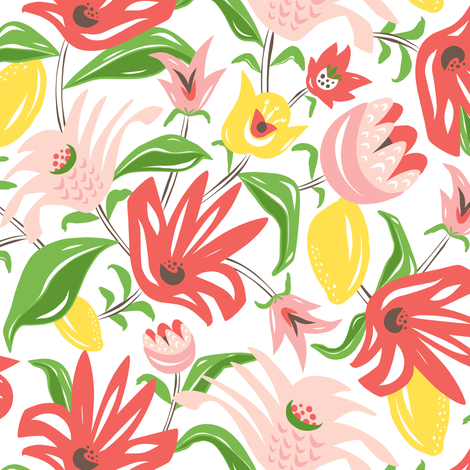 Island Garden - Floral fabric by heatherdutton on Spoonflower - custom fabric