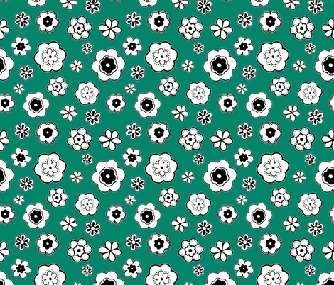 Fun Flowers on Teal fabric by mysticcrab on Spoonflower - custom fabric