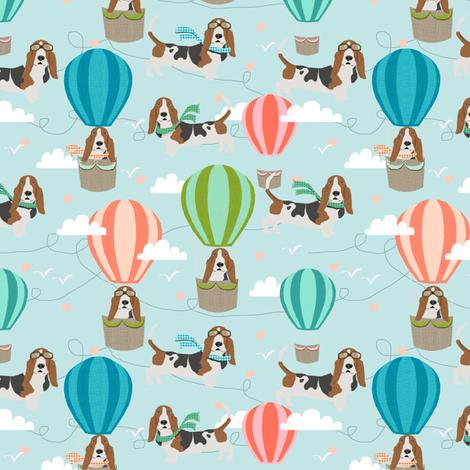 basset hound hot air balloon fabric cute dog design fabric by petfriendly on Spoonflower - custom fabric