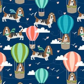 basset hound hot air balloon fabric cute dog design
