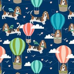 basset hound hot air balloon fabric cute dog design