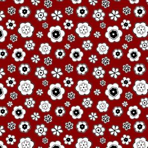 Fun Flowers on Deep Red