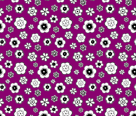 Fun Flowers on Magenta fabric by mysticcrab on Spoonflower - custom fabric