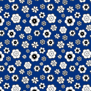 Fun Flowers on Royal Blue
