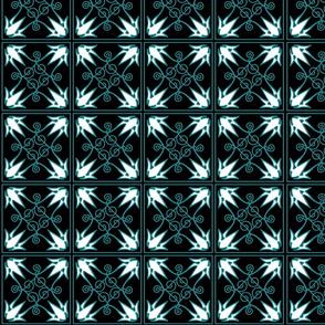 """Teal & Black pattern 4"""" Squares"""
