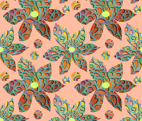 Flower Girl Peach fabric by lindiart on Spoonflower - custom fabric