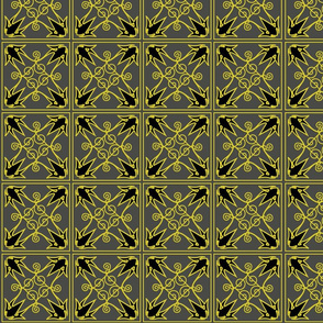 "Steel & Yellow pattern 4"" squares"