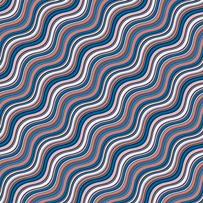 Retro Peach & Blue Waves