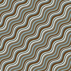 Retro Teal & Brown Waves