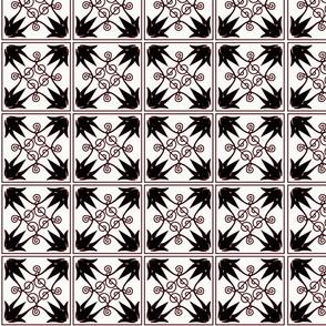 """Black & Red pattern 4"""" squares"""