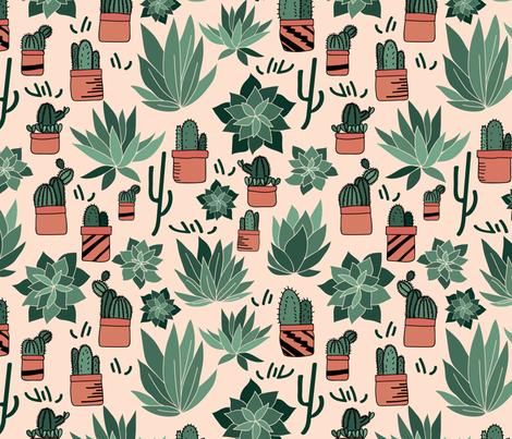 Succulents_Hand_Drawn fabric by annelafollette on Spoonflower - custom fabric