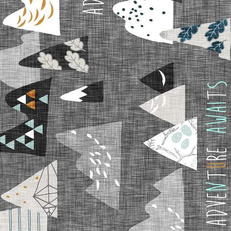 Adventure Awaits (charcoal) REGULAR  railroad fabric by nouveau_bohemian on Spoonflower - custom fabric