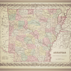 Arkansas vintage map, large