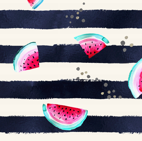 Splashy Watermelon Stripe fabric by crystal_walen on Spoonflower - custom fabric