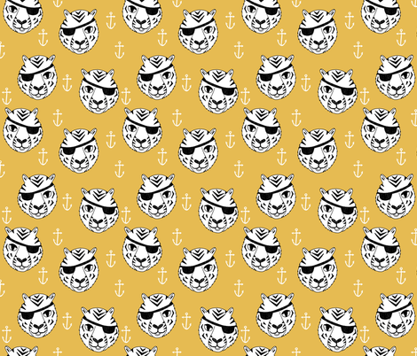pirate tiger fabric // childrens kids design cute childrens character illustration by andrea lauren - yellow fabric by andrea_lauren on Spoonflower - custom fabric
