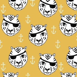 pirate tiger fabric // childrens kids design cute childrens character illustration by andrea lauren - yellow