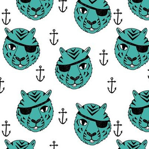 pirate tiger fabric // childrens kids design cute childrens character illustration by andrea lauren - turquoise
