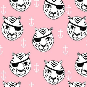 pirate tiger fabric // childrens kids design cute childrens character illustration by andrea lauren - pink