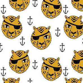 pirate tiger fabric // childrens kids design cute childrens character illustration by andrea lauren - golden yellow