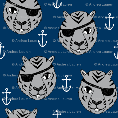 pirate tiger fabric // childrens kids design cute childrens character illustration by andrea lauren - navy