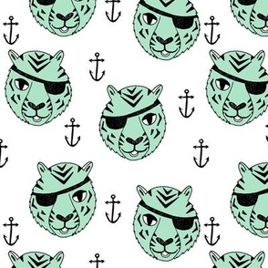 pirate tiger fabric // childrens kids design cute childrens character illustration by andrea lauren - mint