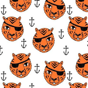 pirate tiger fabric // childrens kids design cute childrens character illustration by andrea lauren - orange