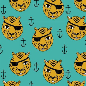 pirate tiger fabric // childrens kids design cute childrens character illustration by andrea lauren - yellow and turquoise