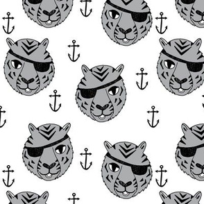 pirate tiger fabric // childrens kids design cute childrens character illustration by andrea lauren - grey