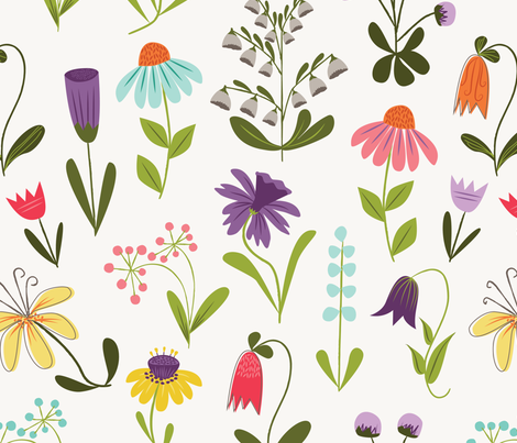 Spring paper-cut floral fabric by retrorudolphs on Spoonflower - custom fabric