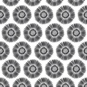 Folk Blooms - Black & White