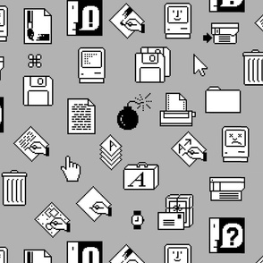 Large Gray Retro Apple Iconography