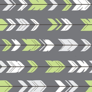 Arrow Feathers - Rotated - Apple green on grey