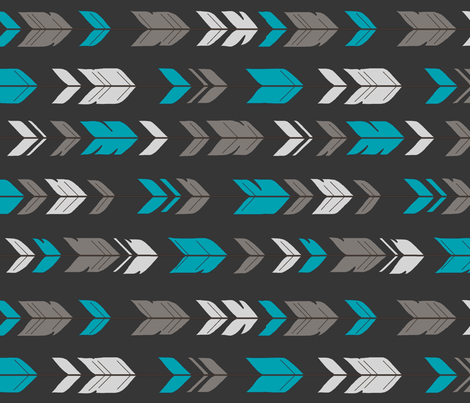 Arrow Feathers - Rotated - Teal, Charcoal, Grey fabric by sugarpinedesign on Spoonflower - custom fabric